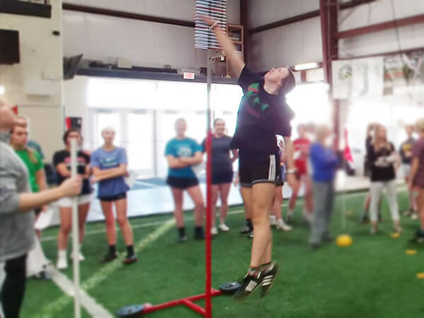 High School Soccer Player Testing Vertical Jump